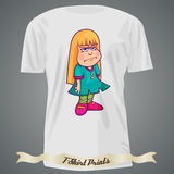 T-shirt design with cartoon of surly girl Royalty Free Stock Photography