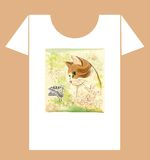 t-shirt design with cat and butterfly Royalty Free Stock Images