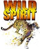 T-shirt design. Cheetah watercolor. stock illustration
