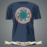 T-shirt design with circle with abstract tribal pattern Royalty Free Stock Photography