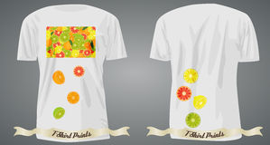 T-shirt design with citrus on front and back Stock Photography