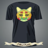 T-shirt design with Colorful Head of Abstract Cat in linear grap Stock Images