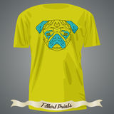 T-shirt design with Colorful head of Pug in linear graphic desig. N, illustration Stock Photos