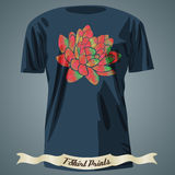 T-shirt design with colorful lotus made of triangle pattern Royalty Free Stock Images