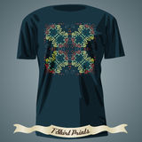 T-shirt design with colorful ornate exotic cross Stock Images