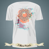 T-shirt design with colorful ornate exotic ornament on colorful Royalty Free Stock Image