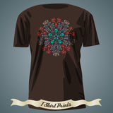 T-shirt design with colorful ornate exotic ornament Stock Photos