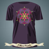 T-shirt design with colorful ornate exotic ornament Royalty Free Stock Photo