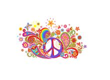T-shirt design with colorful print with hippie peace symbol, abstract flowers, mushrooms, paisley and rainbow on white background. T shirt design with colorful Stock Images