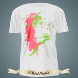 T-shirt design with colorful spots Stock Photography