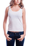 T-shirt design concept - woman in blank white t-shirt Stock Image