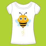 T-shirt design with cute bee. Vector illustration Stock Photography