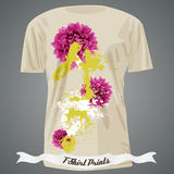 T-shirt design with flowers and colorful spots Royalty Free Stock Photography