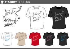 T shirt design with flying pig Royalty Free Stock Photos
