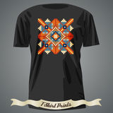 T-shirt design with folk colorful pattern Stock Photo