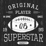 T-shirt design, Football quarterback superstar typography graphics, vector illustration Royalty Free Stock Images