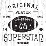 T-shirt design, Football quarterback superstar typography graphics, vector illustration Royalty Free Stock Photography