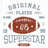 T-shirt design, Football quarterback superstar typography graphics, vector illustration Royalty Free Stock Image