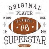 T-shirt design, Football quarterback superstar typography graphics, vector illustration Royalty Free Stock Photos