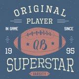T-shirt design, Football quarterback superstar typography graphics, vector illustration Stock Photography