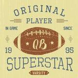 T-shirt design, Football quarterback superstar typography graphics, vector illustration Royalty Free Stock Photo