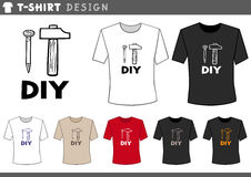 T shirt design with hammer and nail Stock Photo