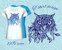 T-shirt design with  head of owl Stock Photos