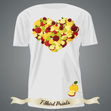 T-shirt design with heart made of apples Royalty Free Stock Image