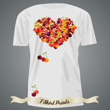 T-shirt design with heart made of cherry Royalty Free Stock Photo