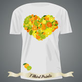 T-shirt design with heart made of citrus Royalty Free Stock Images