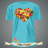 T-shirt design with heart made of fruits Stock Photography