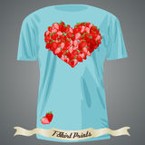 T-shirt design with heart made of strawberry Stock Images