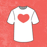 T-shirt design heart template by love Royalty Free Stock Photos