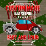 T-shirt design with hot-rod car. royalty free illustration