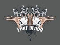 T-shirt Design Illustration. An illustration as a possible t-shirt design, featuring a set of skulls with wings and two guns Royalty Free Stock Photos