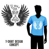 T-shirt Design With Lettering. Male figure in blue t-shirt with sketch wings design and lettering vector illustration Stock Photo