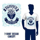 T-shirt Design Lettering. Man silhouette in t-shirt with hot air balloon design and summer sketch lettering vector illustration Stock Images