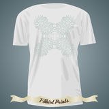 T-shirt design with light green ornate exotic cross Royalty Free Stock Photos