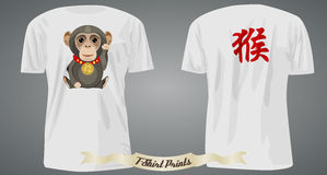 T-shirt design with lucky monkey and hieroglyph. Illustration Royalty Free Stock Photo