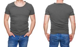 Man in blank gray tshirt front and rear isolated on white. T-shirt design - man in blank gray tshirt front and rear isolated on white Royalty Free Stock Photography