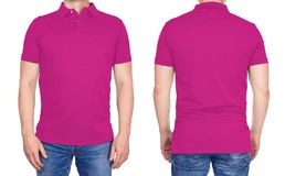 T-shirt design - man in blank pink polo shirt isolated royalty free stock image