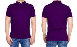 T-shirt design - man in blank purple polo shirt isolated royalty free stock photo