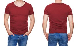T-shirt design - man in blank red tshirt front and rear isolated on white. Man in blank red tshirt front and rear isolated on white, t-shirt design Royalty Free Stock Photos