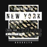 T-shirt design in military army style with camouflage texture. New York City typography with slogan for shirt print. Vector vector illustration