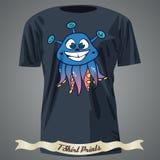 T-Shirt Design mit Karikatur des netten lächelnden Geschöpfesprits der Fantasie Stockfotografie