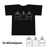 T-Shirt Design mit Turnhallenausrüstung und -text Lizenzfreie Stockfotos