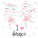T shirt design. Modern fashion style on white background with heart. I love to dance. A pair of cute white ballerina cats in pink ballet tutu and pointe stock illustration