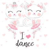 T shirt design. Modern fashion style on white background with heart. I love to dance. A pair of cute white ballerina cats in pink ballet tutu and pointe royalty free illustration
