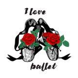 T shirt design. Modern fashion style on white background, original text I love ballet. royalty free illustration