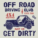 T-shirt design, offroad driving club with suv car typography graphics, vector illustration Stock Photography